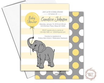 Elephant baby shower invitation yellow and gray balloon, gender neutral baby shower invites, DIY Printable invitations - WLP00791