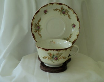 Vintage Tea Cup Harmony House Floral Teacup/tea cup with Burgundy Trim