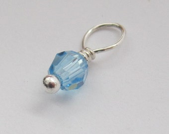 Aquamarine Round Swarovski Crystal 4mm Sterling Silver Dangle Charm, March Birthstone Charm, With or Without Sterling Silver Jump Ring