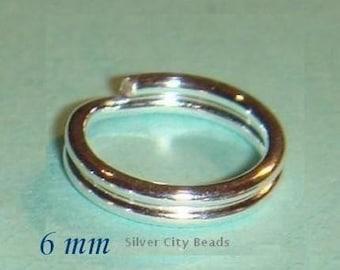 Silver Split Ring, Rings, 7 Pcs, Sterling Silver Split Rings -6mm