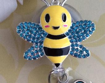 Rhinestone Cute Bumble Bee Retractable ID Badge Reel, Nurse Badge Reel