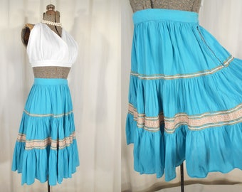 Vintage 1950s Skirt | Small Circle Skirt |  50s Rockabilly Teal Blue Patio Skirt