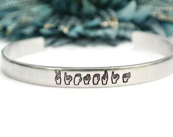 ASL Name Bracelet | Personalized Sign Language Bracelet | Deaf Jewelry | Sign Language Interpreter Gift | Sign Language Gift | ASL Bracelet