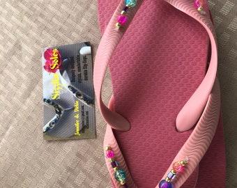 Pink bling flip flops size 1/2 kids