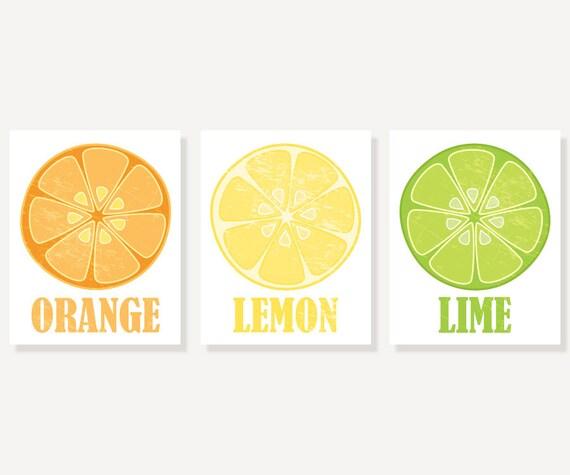 Kitchen Art Orange Lemon & Lime 3 Vintage Style Citrus