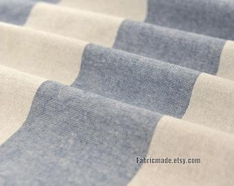 Yarn Dye Stripes Linen Fabric/ Denim Blue Beige Wide Stripes Cotton Linen Blended Fabric- 1/2 yard