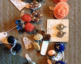 Lot of 12 pair Vintage Earrings~1940s~Celluloid~Rhinestone~Screwback~Clip~EUC