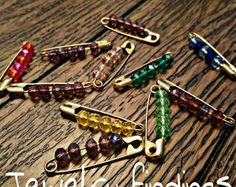 Beaded safety pin jewelry finding 11pcs