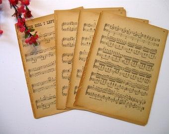 Sheet Music, Vintage Paper, 19 Sheets, Music Sheets, Wedding Paper, Scrap Booking Paper, Card Making Paper,