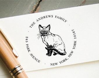 Custom Self-Inking Stamp, Cat Lover Stamp, Self Inking Return Address Stamp, Personalized Stamp, Custom Stamp, Cat Lady Gift