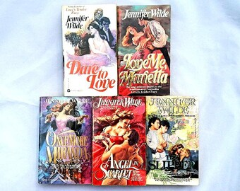 Jennifer Wilde Vintage Set of Five Paperback Romance Novels Books