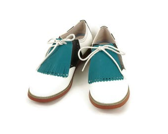 Turquoise Kilties for Womens Golf Shoes Lindy Hop Swing Dance Shoes Kilties Shoe Tongue, Best Golf Gifts Golf Accessories, Ladies Golf Shoes