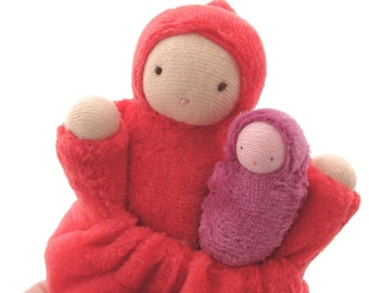 Pocket doll / natural fiber doll / waldorf toy / waldorf doll / red cloth doll / mother with baby / steiner doll / doll with pocket  PMR1