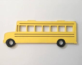 Wooden School Bus cut out shape for transportation theme