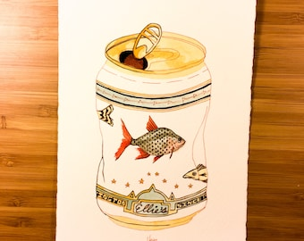 Beer Can with Green and Red Fish — Original Ink Drawing with Watercolor Paint