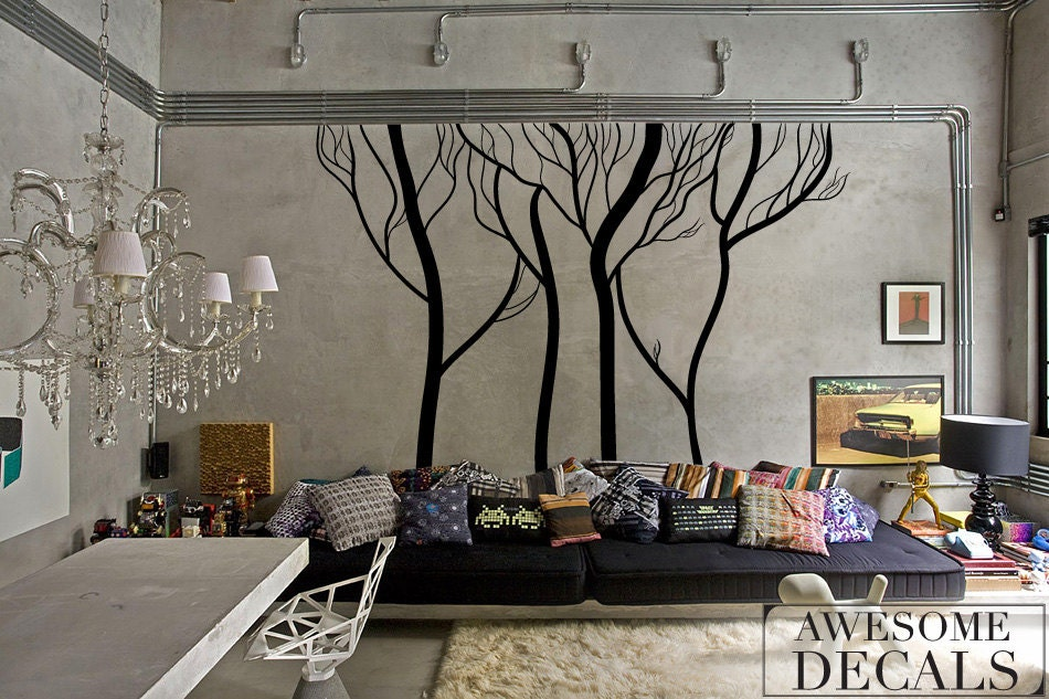 Winter Tree Wall Decals Living Room Decal Custom Wallrhetsy: Large Wall Decals For Living Room At Home Improvement Advice