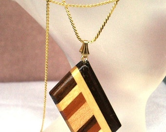 Repurposed Composite Wooden Parallelogram Focal Pendant with Gloss Finish