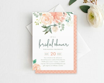Floral Bridal Shower Invitation - Printable INSTANT DOWNLOAD, Watercolor Flowers, Flower Bridal Shower, Floral Shower Invitation