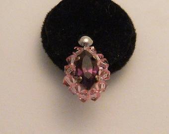 * CLEARANCE * bo01 pink swarovski crystal earrings