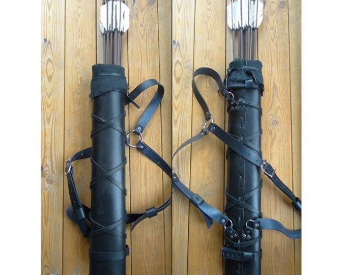 Woodsman Leather Quiver, Men's L/XL, Black or Brown, 3 Point Strap - Deluxe
