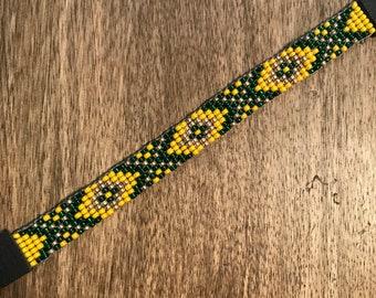 Southwestern print hand beaded bracelet