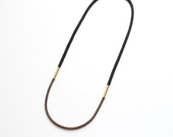 LAST ONE Rope & Chain Necklace (black)