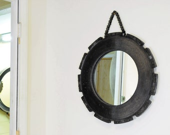 Large Brake Disc Mirror is Upcycled from decommissioned Boeing 747 Carbon Brake Disc