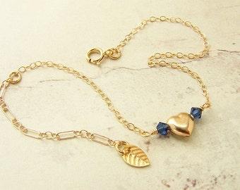 Gold Heart Bracelet, sapphire September birthstone bracelet, bridal wedding party bracelet heart jewelry, gift for her, gift for teen girls