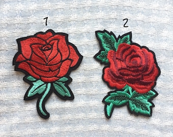 Rose Patch - Iron on Patch, Sew On Patch, Embroidered Patch