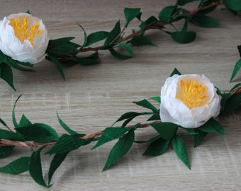 Wedding Paper Flower Garland, Paper Peony Garland, Wedding Garland Backdrop, Party Decorations, Chair Garland, Bridal Shower Decorations