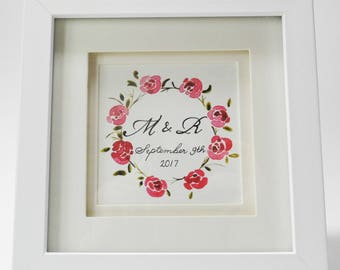 Watercolour Floral Wreath with Couple's Names 'Mollie'
