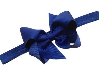 Navy blue baby headband - baby headbands, baby headband bows, baby bows, baby bow headbands, baby hair bows, hair bows, newborn headbands