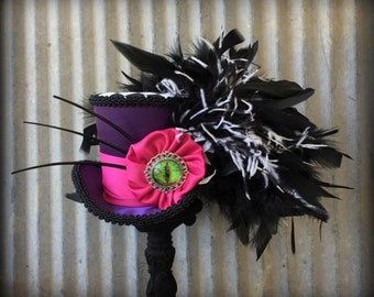 Mini Top Hat, Cheshire Cat Hat, Alice in Wonderland Hat, Mad Hatter Tea party Hat, Mad TEa party hat, Purple and Pink hat