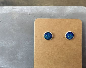 Destello Druzy Studs - Blue - 10MM