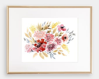 Giclée Watercolor print, Archival Art Print, Frame NOT included, Senay Studio August Abstract Artwork, Quality Watercolour Floral Art Print