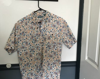 Psychedelic pattern collared shirt