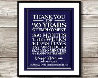 30 Year Work Anniversary/Retirement Print; gift; digital print; customizable; thank you gift; years of service; employee recognition