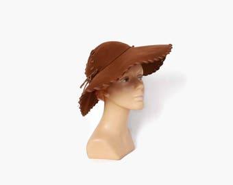 Vintage 40s Brown HAT / 1940s Soft Felt Wide Brim Floppy Hat