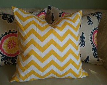Yellow chevron pillow cover, yellow pillow cover, chevron, yellow & white, pillow cover, accent pillow, decorative pillow, yellow home decor