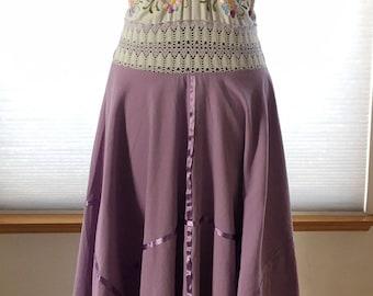 Vintage Floral Embroidered Mexican Halter Handkerchief Medium Lavender dress
