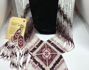 Cherokee garnet bead necklace and earring set by Buddy Bates