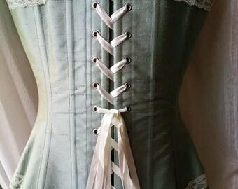 Bohemian wedding light blue silk corset with ivory lace - Vintage wedding overbust corset - Boho chic bride - Modern bridal dress