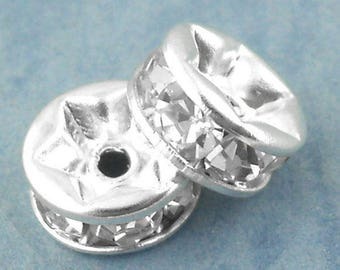 2 beads 6 mm silver rhinestone Rondelle spacer