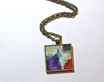 Colorful Pendant Necklace,  FREE  Shipping, Red, Green, Abstract Painting, Miniature Art, Hand Painted, Purple, Wearable Art, Handpainted