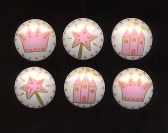 Set of 6 PRINCESS KNOBS - Dresser Drawer Knobs PULLS