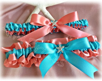 Wedding leg garter, rhinestone starfish coral reef and turquoise bridal garter belt, keepsake and toss garter set