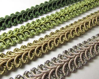 Hunter, Sage, Khaki or Seafoam Beige Green 12mm Raised Heavy Gimp Decorator or Upholstery Trim