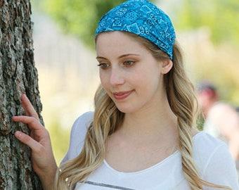 Bandana Head Band / Bandana Headband / Wide Headwrap / Wide Head Wrap / Turquoise Blue Headband / Turquoise Blue Hair Band / Head Covering