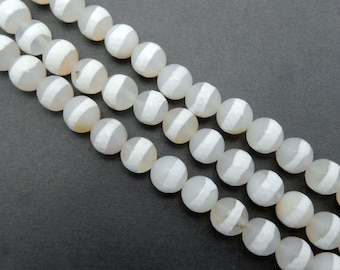 Beautiful White Striped Agate Round Beads -- 8mm White Agate Round Beads-- 1 STRAND (S80B10-04)