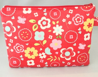 Mini nappy clutch/pouch made in Red retro floral design travel bag, zippered bag, nappy bag